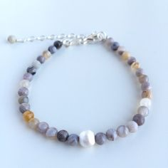 Handmade bracelet with genuine Bamboo Agate gemstones and details in 925 sterling silver