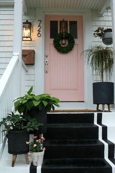 Ideas front door decorations curb appeal window boxes for 2019 Door Decorations, Painted Doors, Painted Front Doors, Porch Awning, House Exterior, Beautiful Front Doors, Exterior Stairs, Farmhouse Style House, Curb Appeal