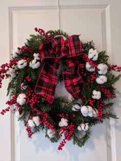 Excited to share the latest addition to my #etsy shop: Buffalo Rustic Christmas Wreath-Cotton Stem Door Decor-Evergreen Wall Decor-Holiday Decor-Farmhouse Decor-Country Decor-Fixer Upper Style http://etsy.me/2jMaKpp #housewares #homedecor #green #christmas #red #entryway #round #