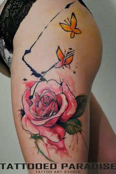 Watercolor tattoo rose. Pretty. Hate the placement