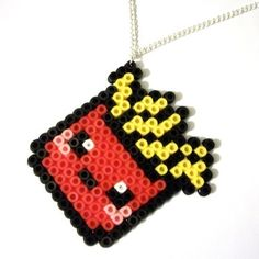Kawaii Box Of Chips / Fries Hama Beads Necklace Pikachu Hama Beads, Hama Beads Kawaii, Hama Beads Mario, Diy Perler Beads, Perler Bead Art, Perler Bead Designs, Hama Beads Design, Melty Bead Patterns, Pearler Bead Patterns