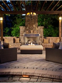 Against wall on left side of pool An outdoor fireplace design on your deck, patio or backyard living room instantly makes a perfect place for entertaining, creating a dramatic focal point. Outdoor Rooms, Outdoor Living, Outdoor Decor, Outdoor Kitchens, Outdoor Seating, Luxury Kitchens, Outdoor Cushions, Outdoor Life, Pavillion