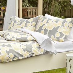 Great site for designer bedding | The Ashbury Yellow Duvet Cover | Crane and Canopy