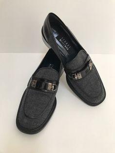 Stuat Weitzman flat shoes loafer black leather textile size 7.5 #StuartWeitzman #LoafersMoccasins