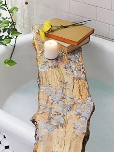 Flower Pressed Tub Board | Bathe in luxury with this artisan, Philadelphia made and Free People designed, spalted maple tub board featuring beautiful pressed flowers with a resin inlay. Not only for baths, this board makes a beautiful shelf, wall art, or tray. Food safe.