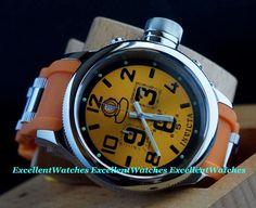 Invicta Mens 52MM Russian Diver Quinotaur Orange Dial Chrono Poly Strap Watch