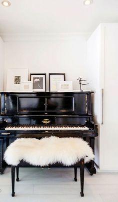 Chic piano area. Living room. Home decor and interior decorating ideas