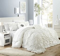 Chic Home Halpert 6 Piece Comforter Set Floral Pinch Pleated Ruffled Designer Embellished Bedding with Bed Skirt and Decorative Pillows Shams Included, Queen White Shabby Chic Bedrooms, Cozy Bedroom, Shabby Chic Furniture, Shabby Chic Decor, Bedroom Decor, Bedroom Ideas, Teen Bedroom, Master Bedroom, White Bedrooms