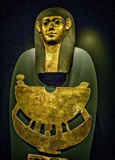 Gilded cartonnage Mummy Mask and Pectoral of Meret-it-es Egypt Late Period to Ptolemaic Period, 30th Dynasty to early Ptolemaic Dynasty 380-250 BCE Wood Pigment and Gesso | by mharrsch