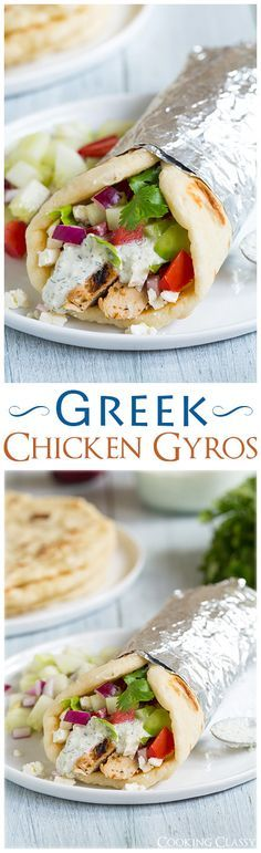 Gryos with Greek Chicken, Homemade Tzatzkiki and Pita Flatbread - these are one of my absolute favorite dinners! LOVE this recipe!