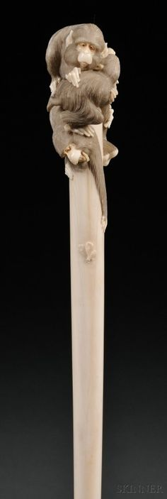 Edwardian Parasol with Carved Ivory Monkey Handle, early 19th century
