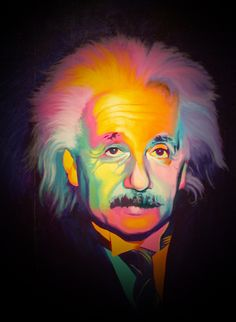 Albert Einstein E=mcc/frequency=rainbow reality (psychedelic)every human is a different wavelength traveling at the speed of light Street Art, E Mc2, Tumblr, Arte Pop, Pics Art, Art Pictures, Albert Einstein, Portrait, Trippy