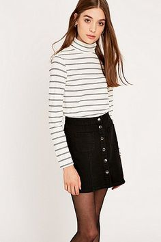 Urban Outfitters Ribbed Stripe Roll Neck Top