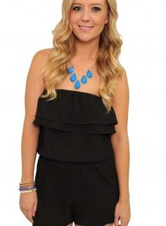 Black Jump Suits/Rompers - Black Ruffle Strapless Romper