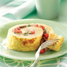 Spiral Omelet Supreme. Yum. I hope this works. This would be excellent for easy breakfasts if made ahead of time.