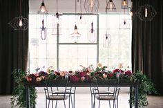 industrial floral wedding tables via ruffledblog.com