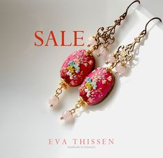 RESERVED for gayou. SALE one last piece. Cerise. Gorgeous handmade polymer clay earrings. Ready to ship