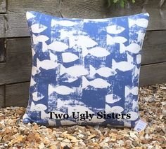 Your place to buy and sell all things handmade Nautical Cushions, Blue Cushions, Printed Cushions, Scatter Cushions, Nautical Theme Decor, Seaside Decor, Shoal Of Fish, Bedroom Cushions, Housewarming Present