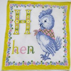 Vintage 50's Children's HEN Chick Handkerchief by shabbyshopgirls, $14.00