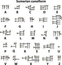 Photo about Sumerian cuneiform alphabet ancient antique. Image of museum, culture, archaic - 31114252 Alphabet Symbols, Alphabet Worksheets, Ancient Alphabets, Ancient Scripts, Ancient Symbols, Simbolos Tattoo, Tattoos, Different Alphabets, Ancient Artifacts