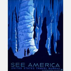 This digitally-reproduced poster with an illustration by Alexander Dux, originally created in the late 1930s for the U.S. Travel Bureau, depicts two people inside the Carlsbad Caverns of New Mexico. First published by the Work Projects Administration Federal Art Project.