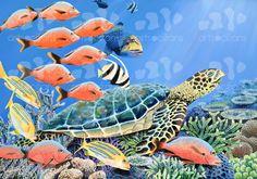 - sea turtle in Tikehau lagoon #underwater #oil #painting