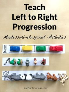 Teaching left to right progression for English language. Here are some Montessori inspired activities for a 3 year old that will help reinforce the concept of left to right.