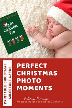 Create perfect photo moments of baby's first Christmas with these delightful printable photo cards.  Download today and start clicking! #babysfirstchristmas #photooftheday ##christmasphotos #christmas2020 #navidad #firstchristmas #firstyear #preciousmoments