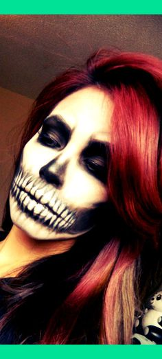Skull Face for halloween. I have decided to do Halloween makeup for work Maske Halloween, Halloween Zombie, Halloween Costumes, Halloween Face Makeup, Facepaint Halloween, Happy Halloween, Halloween 2013, Jessie Halloween, Raccoon Halloween