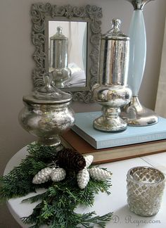 mercury glass is always a great accessory for the home