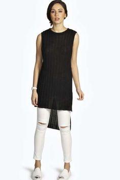 Molly Rib Knit Sleeveless Side Split Jumper at boohoo.com