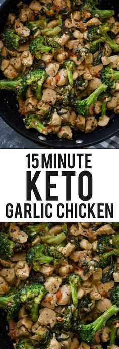 Healthy Recipes 15 Minute Keto Garlic Chicken with Broccoli and Spinach - Cheesy garlic chicken bites cooked in one pan with broccoli and spinach in under 15 minutes. This quick tasty dish is a great keto option and can be served with zoodles or pasta! Healthy Diet Recipes, Healthy Meal Prep, Low Carb Recipes, Healthy Eating, Keto Snacks, Lunch Recipes, Keto Diet Meals, Breakfast Recipes, High Protein Chicken Recipes