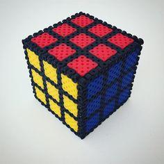 Rubik's cube made with perler beads