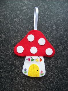 Mushroom house, cottage, hanging decoration, ornament, collectable, toadstool house, fairy house