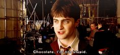 "Daniel Radcliffe's answer in response to Tom Felton's question about ice cream, ""Do you prefer chocolate or strawberry?"" :D"