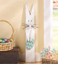 Craft Painting - Rustic Homemade Easter Bunny Yard Art