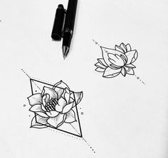 All the things I want in a tattoo hehe; geometric figure, dots, Lotus flower, black work. Good for sternum or arm.