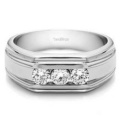 Charles Colvard Sterling Silver Men's 2/5ct TGW Moissanite Forever Wedding Ring (Sterling Silver, Size 12.5), White