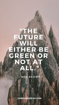 """The future will either be green or not at all."" - Bob Brown #greenindy #zerowaste #lowimpactmovement #environment #ecofriendly #greenliving"
