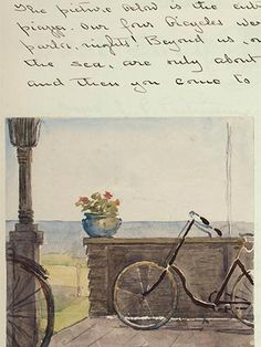 """The artist Sarah Gooll Putnam kept a diary, complete with many sketches, from age 9 until near her death at age 61 in 1912. This entry from 1 August 1902 features a watercolor sketch of """"Ritchie's Piazza"""" in Martha's Vineyard. Born into a wealthy family with old Boston ties, Putnam blazed a trail for professional female artists"""