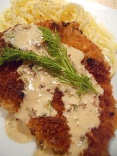 Pork Schnitzel with Dill Cream Sauce, this was delicious. We served ours with lightly buttered egg noodles and fresh parsley. 9/10!