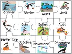 Puzzles pour ateliers sur les mois de l'année How To Speak French, Learn French, Preschool Kindergarten, Preschool Activities, March Lesson Plans, French Classroom, Montessori Classroom, 2nd Grade Math, French Lessons