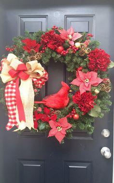 Burlap wreath red cardinal Gingham Hydrangeas by PinkLimeWreaths