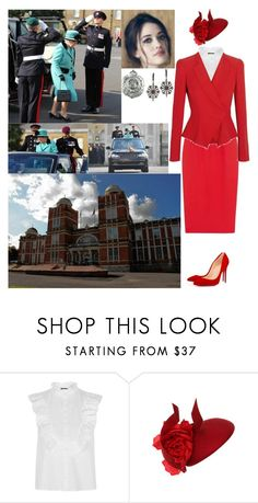 """Visiting the Corps of Royal Engineers at Brompton Barracks, Chatham, Kent."" by new-generation-1999 ❤ liked on Polyvore featuring Alexander McQueen, Topshop, Philip Treacy, Cuero and Bochic"