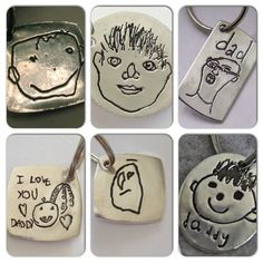 Personalized Father Gift - Your Childs Drawing of Daddy Made into Solid Silver Keychain - As Featured in ETSY FINDS - made to order