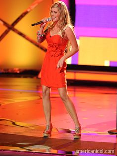 "Megan Joy was stunning in this bright red dress she donned for her performance of ""Rockin' Robin""."