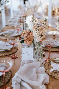 Seacliff House Gerringong Wedding - Gemaya + Tim - THE EVOKE COMPANY Wedding Table Decorations, Wedding Table Settings, Wedding Themes, Wedding Centerpieces, Wedding Designs, Wedding Styles, Centerpiece Flowers, Decor Wedding, Wedding Images