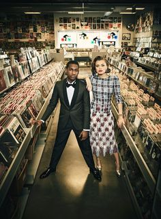 Leon Bridges and Andra Day, photographed at Amoeba Music in Los Angeles. Photograph by Jason Bell.