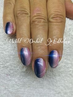 Round Gel Nails Ombre Nail Art Hand Painted