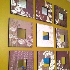 Plain wood mirrors + scrapbook paper = new mirrors.